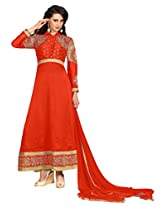 Suchi Fashion Orange Embroidered Georgette Semi Stitched Suit