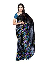 Ambaji Black & Grey Coloured Dani Georgette Printed Saree