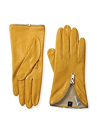 Portolano Women's Perforated Leather Gloves with Zipper Trim (Golden Yellow)