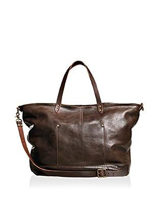 TM1985  Allen Leather Duffle, Dark Brown, 12 x 28 x 16