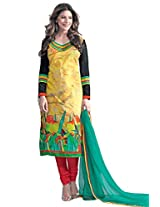 Admyrin Women's Cotton Printed Yellow Salwar Kameez