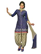 SGC Blue & Gray Cotton Embroidery unstitched churidar Patiyala (NKT-5105)