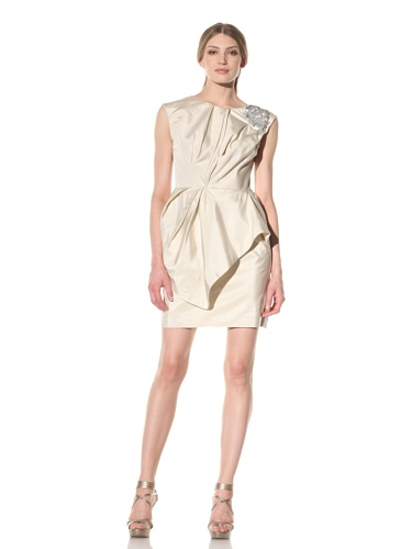 Vera Wang Women's Draped Dress with Jeweled Shoulder Detail (Bone)
