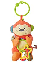 Winfun Cheky Chimp Hand Rattle Squeaker Crinkle Sound, Multi Color