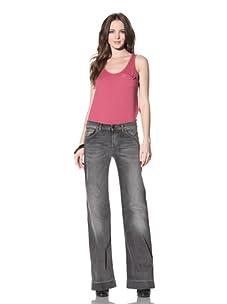 See by Chloé Women's Five-Pocket Flared Jean (Dark Grey Wash)