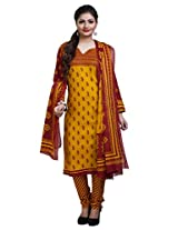 Rajnandini Women's Brown & Yellow colour pure cotton Printed Unstitched salwar suit Dress Material (Free Size)