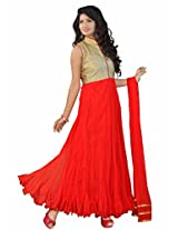 Isha Enterprise Women's Net Anarkali Suit(KFP1015_Red)