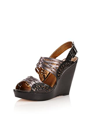 Cynthia Vincent Women's Jaden Wedge Sandal (Gunmetal)