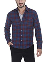Zobello Men's Knitted Lining Lumberjack Shirt(11073A_Dark Blue/Crayon Red Check_XX-Large)