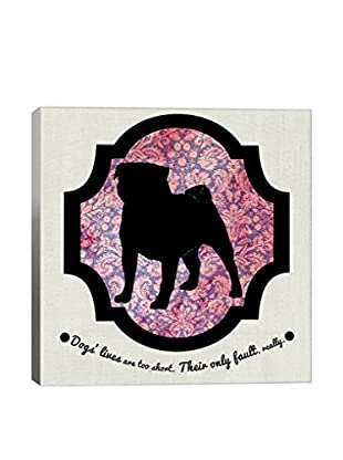 Pug Pink & Black II Gallery Wrapped Canvas Print