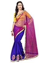 Admyrin Blue and Pink Half n Half Saree with Yellow Blouse