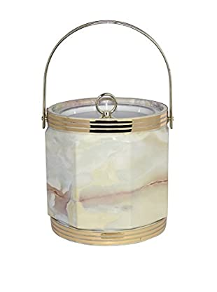 Uptown Down Previously Owned Marbleized Lucite Ice Bucket with Golden Accents