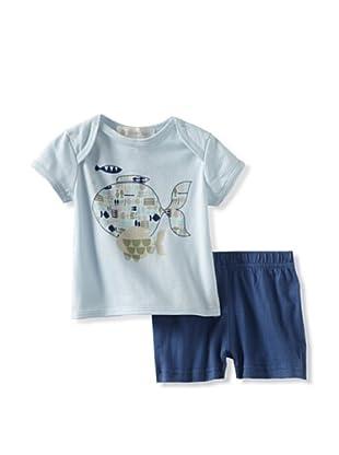 Lucky Jade Fish Tee/Short Set (Blue)