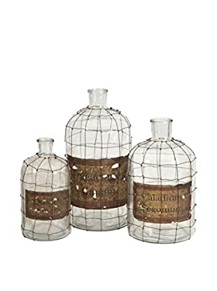 Dimora Set of 3 Wire Caged Bottles