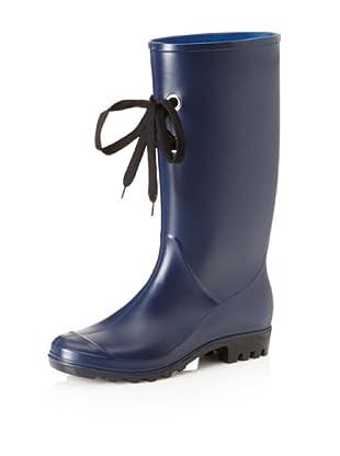 däv Women's Lug with Laces Rain Boot (Navy)