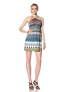 Muse Women's Printed Halter Poet's Dress (Ivory/Multi)