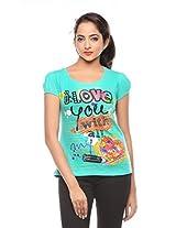 Trendy Girlz Womens Cotton T-Shirt -Peacock Green -Medium