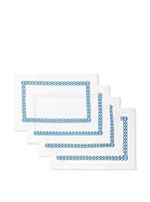 Trina Turk Set of 4 Ogee Embroidered Placemats (Blue)