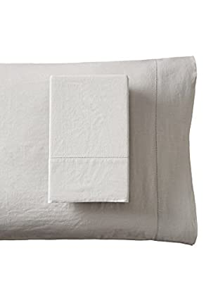 Mélange Home Prewashed Hemstitch Standard Pillowcase Set, Vintage Sliver