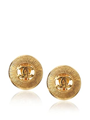 CHANEL Logo Button Earrings