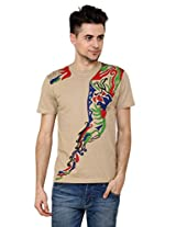 T - Shirt - Mens Tshirt - Hand Painted Abstract Flow Theme - Beige Color