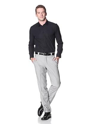 Incotex Ivory Men's Wool Flat Front Trouser (Light Grey)