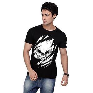 Inkovy Black Men T shirt CREW H WHITE SCARY GHOST BLACK