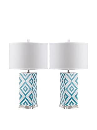 Safavieh Set of 2 Diamonds Table Lamps, Light Blue
