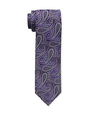 Bruno Piattelli Men's Paisley Silk Tie, Purple Charcoal