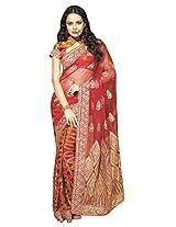 Anvi Creations Maroon Orrange Schiffli Embroidered Net saree (Maroon_Free Size)