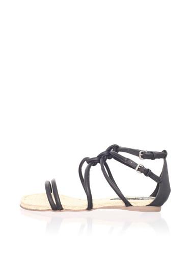 MaxStudio Women's Sear Flat Espadrille Sandal (Black)