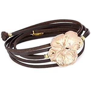 Accessories and Beyond Brown Leather Rose Gold Flower Wrap Bracelet