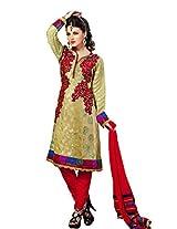 Cenizas Women Chiffon Dress Material Dress Material (Gold2010Q _Beige _Free Size)