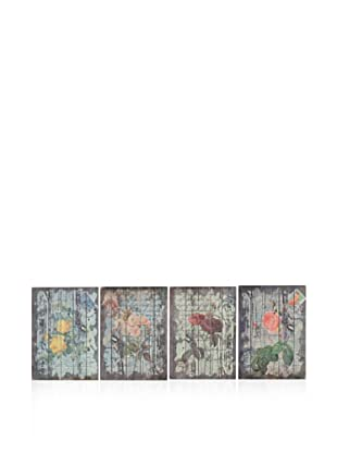 Set Of 4 Floral Wall Art (Multi)