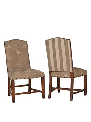Guildmaster Pair of Washington Side Chairs (Brown/Cream)