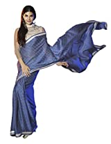Blue Color Georgette Saree with Lace Border
