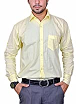Mc-John Men's Slim Fit Formal Shirt (Lemon_Large)
