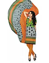 Khushali Presents Georgette Chudidar Dress Material(Grey,Green,Orange)