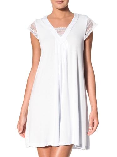 Oscar de la Renta Women's Short Night Gown With Lace Sleeves (Light Blue)