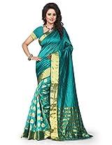 Shree Sanskruti Self Design Tassar Silk Green Color Saree For Women With Blouse Piece