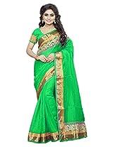 DivyaEmporio Women Cotton Silk Self Print With Blouse Piece Sarees(DE 2826 Green)