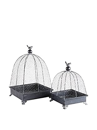 Napa Home and Garden Set of 2 Wire Cloches, Dark Gray