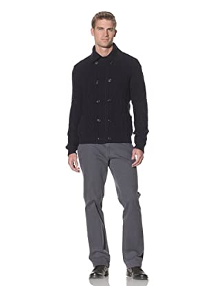 Cruciani Men's Double Breasted Cardigan (Navy blue)