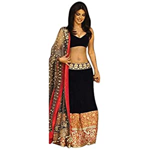 Bhuwal Fashion Dark Blue Velvet and net Bollywood Replica Lehenga