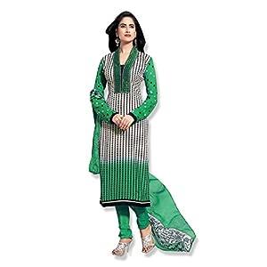 Fabfiza Semi Stitched Anarkali Suit - Green & Pink