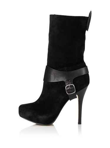 Rosegold Women's Lily Side Buckle Boot (Black)