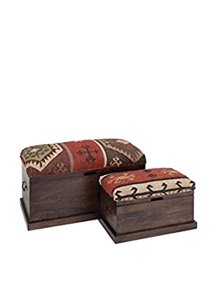 Set of 2 Wood Jute Trunks
