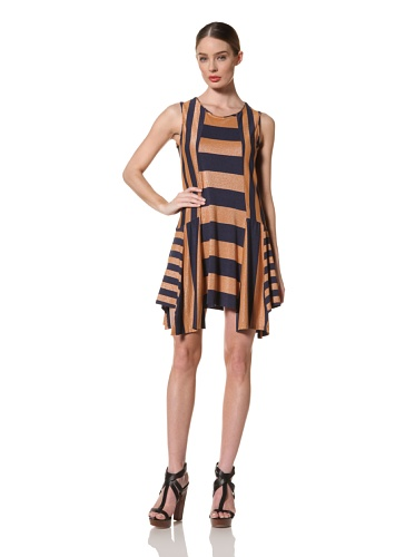 Anna Sui Women's Mixed Jersey Stripe Dress (Electric Blue/Nude)