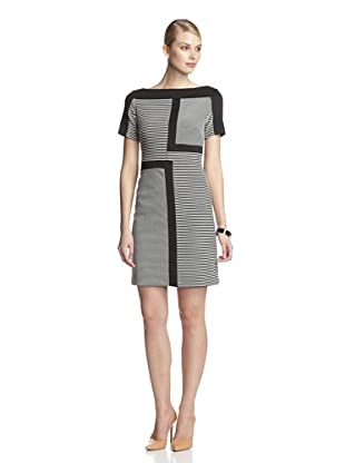 Taylor Women's Colorblock Cap Sleeve Dress (Black/White)