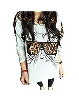 Thinkbay? Trendy Nalula Women Clothes Tops Tees T Shirt Leopard Glasses Kitten T-Shirt